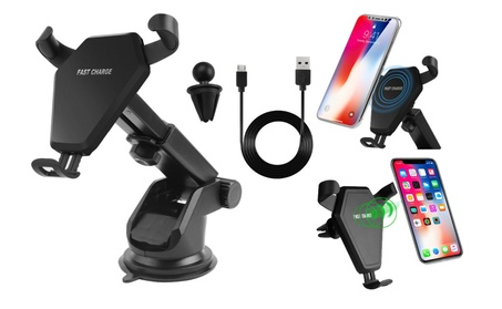 Qi Wireless Charger Charging Car Mount Holder For iPhone X, 8 / 8 Plus - Black 8cc5f9fd-a553-4fc7-888e-1c5b8f6d4cc5