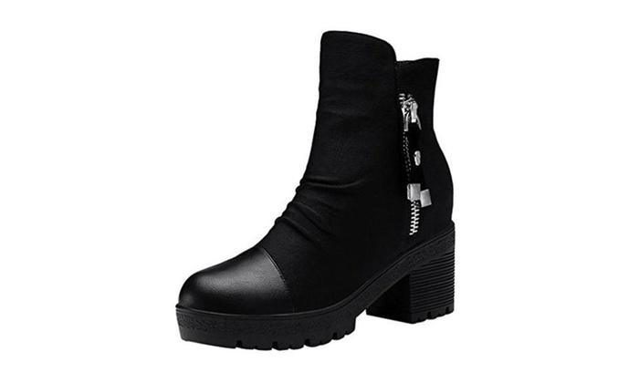 Passionow Women's Trendy Zipper Block Heel Cap-Toe Platform PU Leather Boots