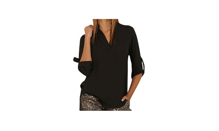Women's Cuffed Sleeve Plus Size V-Neck Blouse