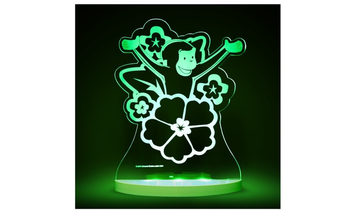Curious George with Flowers Multicolored LED Night Light