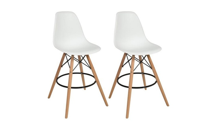 Eames Style Set Of 2 High Chair Bar Stools ...