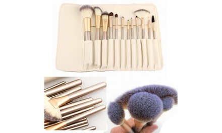 Professional Makeup Cosmetic Brush Collection (12 Piece) with Ivory Storage Case