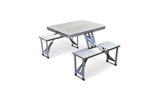 Outdoor Garden Aluminum Portable Folding Camping Picnic Table Set ...