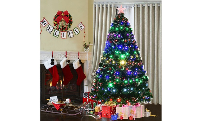 7 pre lit fiber optic artificial christmas tree wmulticolor