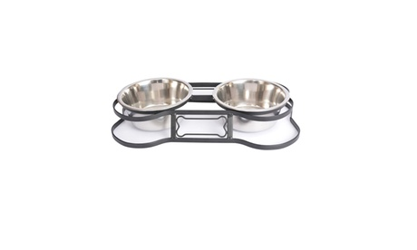 Heavy Duty Pet Double Diner for Dog or Cat (Bone Design) - 1 Pt - 16 oz 7136a348-2c59-4be2-a627-57bc12811f51