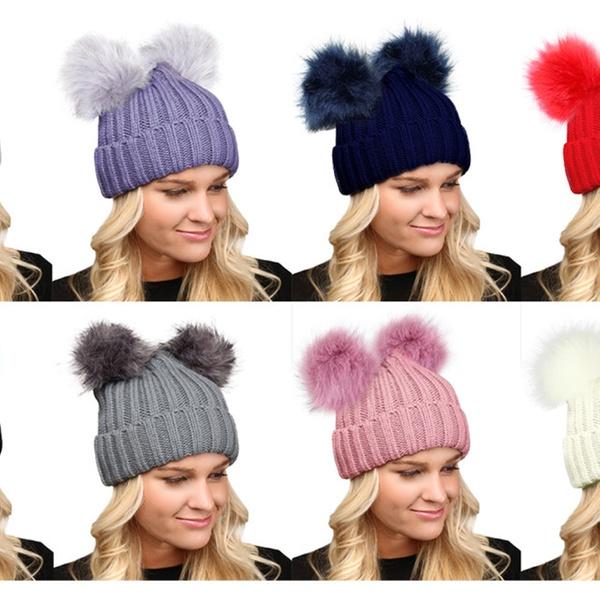 44815726036 Women s Winter Chunky Knit Faux Fur Double Pom Pom Beanie Hat.
