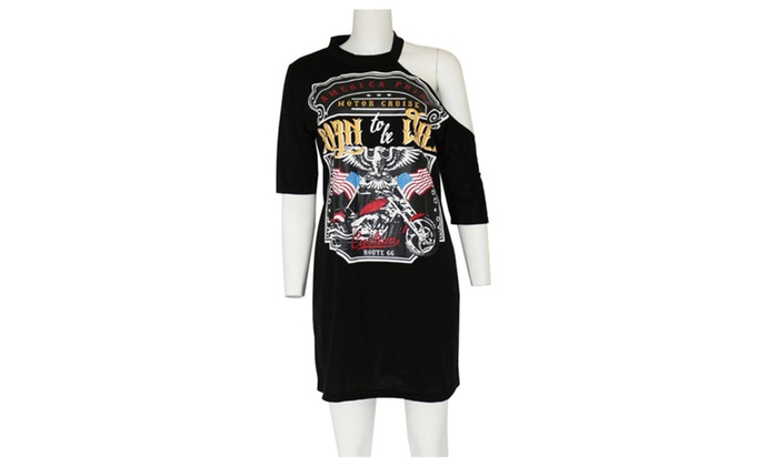 LINA Women Eagle Motorcycle Print Hanging T shirt Dress