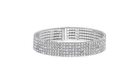Five Strand Round Crystal Bangle Cuffs f491c795-51c3-49cd-8f36-225b71d86ff0
