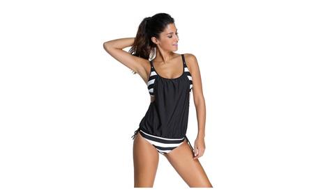 Womens Stripes Lined Up Double Up Tankini Top Sets Swimwear 70f8aae2-f431-44d3-9d19-e28924713e01