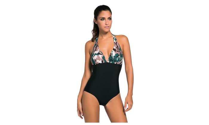 Women's Dark Camouflage Print Black Body One-piece Swimwear