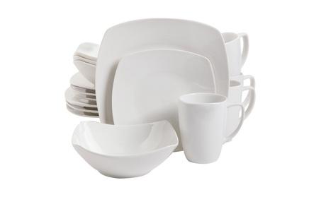 Gibson Home 16 Piece Zen Buffetware Dinnerware Set, White photo