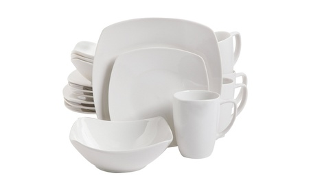 Gibson Home 16 Piece Zen Buffetware Dinnerware Set, White
