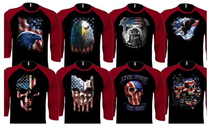 American Flag Patriotic 'Merica Design Baseball Raglan Shirts