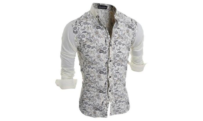 Men's Vintage Floral Pattern Long Sleeves Dress Shirts