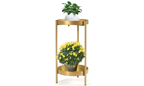 Costway 2 Tier Metal Plant Stand Mid Century Modern Stand w/2 Metal Tray Gold
