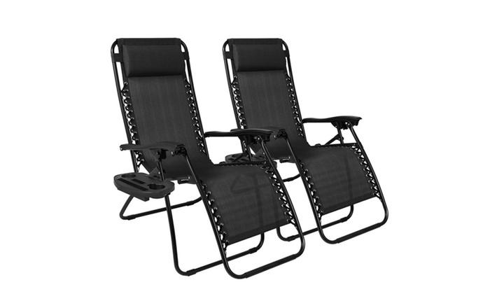 2pcs Black Outdoor Lounge Chair Beach Patio Pool Yard