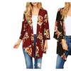 Women's Open Front Asymmetric Hem Flora Long Sleeve Knit Cardigan