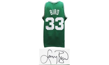 Larry Bird Signed Boston Celtics Green Mitchell & Ness NBA Swingman Jersey