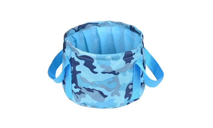 HQST 15L Foldable Water  Bucket  With Carrying Pouch Camouflage Blue
