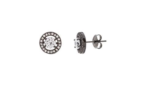 Sterling Silver CZ Round Post Earring b6c1fb9c-adb8-49cf-93a4-2f309994b5ae