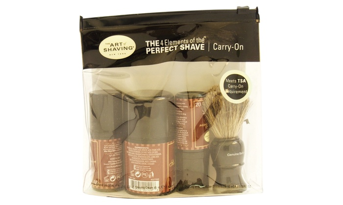 the art of shaving the perfect shave carry on kit sandalwood groupon. Black Bedroom Furniture Sets. Home Design Ideas