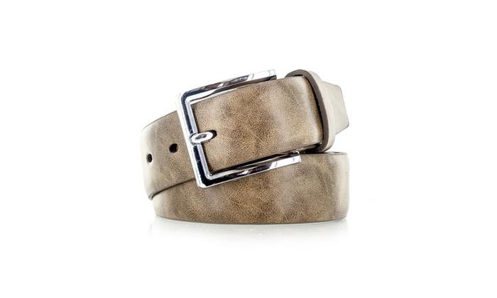 Faddism Men's Genuine Leather Belt Squared Silver Buckle