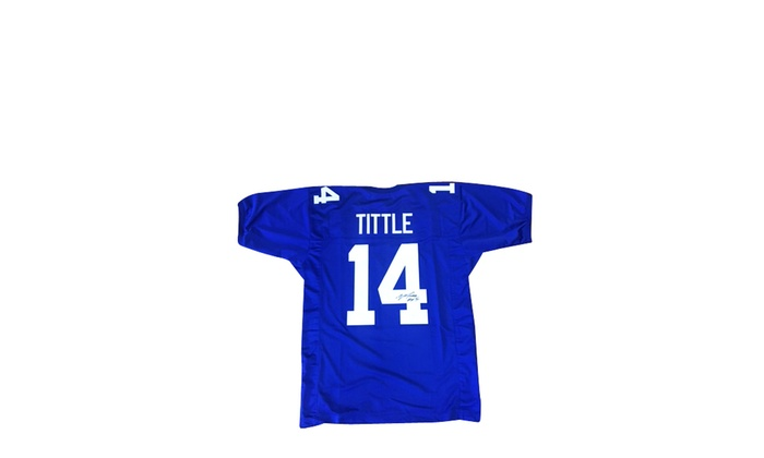 free shipping 2264d 9fd5c Y.A. Tittle Autographed Blue Custom Jersey HOF 71' - New York Giants