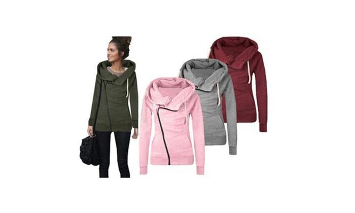 9b761abc6 Women's Oblique Zipper Funnel Neck Zip Up Fleece Hoodie Jacket XL Green
