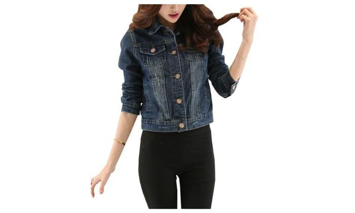 Women's Simple Slim Fit Long Sleeve Casual Denim Jacket