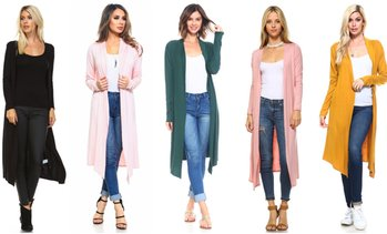 Isaac Liev Essentials Women's Lightweight Extra Long Cardigan S-2X