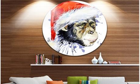 Monkey Santa Clause' Animal Metal Circle Wall Art b6d25592-670d-4c15-b98d-862d55651739