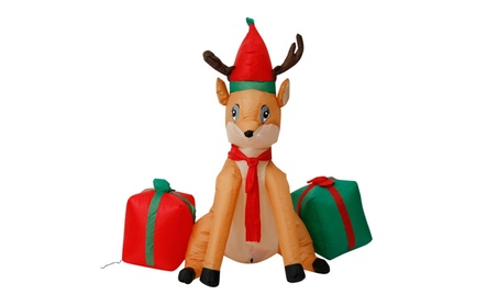 4ft Inflatable Christmas Deer Gift Airblown Holiday Yard Decoration ef8e89b9-394d-484b-b4ef-92e56151fc9a
