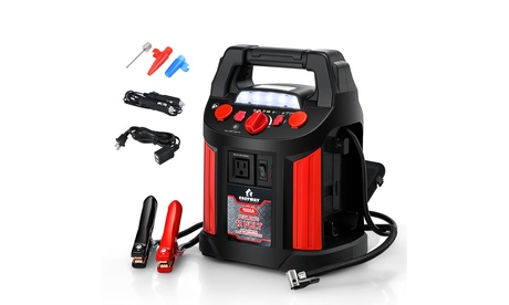 Costway Jump Starter Air Compressor Power Bank Charger w/ LED Light & DC Outlet