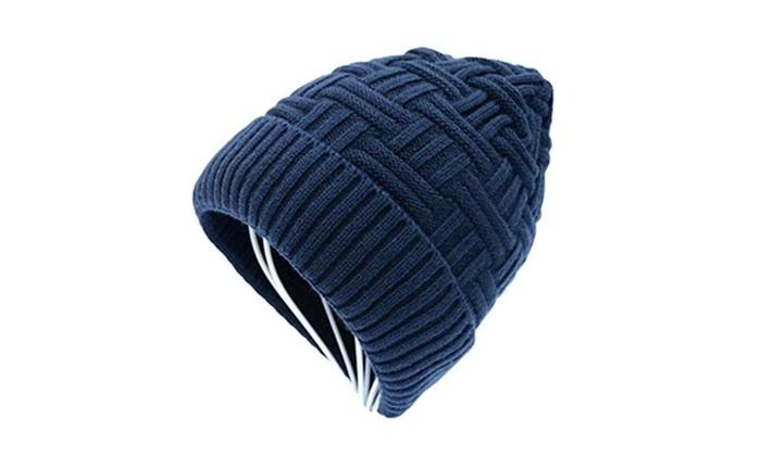Men's Wool Knit Classic Warm Beanie Slouchy Hiking Cap