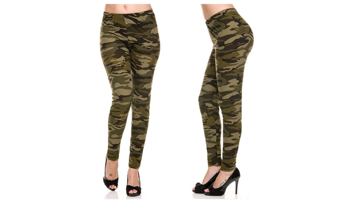 New Army Camouflage Camo Hot Sexy Leggings Womens High Waist Pants Fit