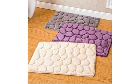 Absorbent Non-slip Memory Foam Kitchen Bathroom Door Mat 3D Cobblestone Carpet