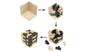 Brain Teaser IQ Game Tetris Cube with Wooden 3D Puzzles (54-Piece)
