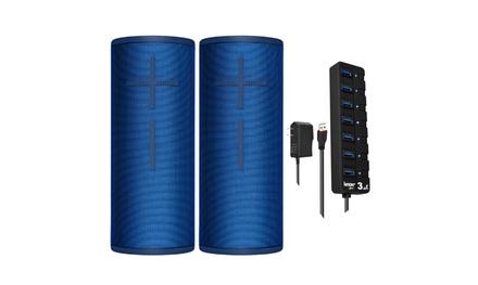 Ultimate Ears BOOM 3 Wireless Bluetooth Speaker Pair (Blue) with 7-Port USB Hub
