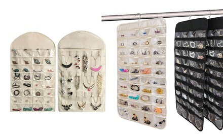 32/80 Pockets Jewelry Organizer Hanging Storage Bag Transparent Window