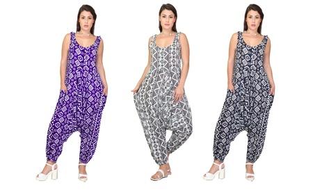 Women Jumpsuit Summer Print Sleeveless Romper Jumpsuit