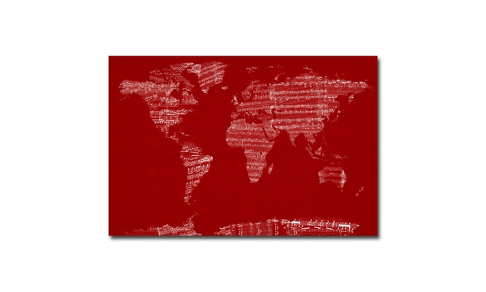 Michael tompsett sheet music world map canvas art groupon groupon goods michael tompsett sheet music world map canvas art gumiabroncs Gallery