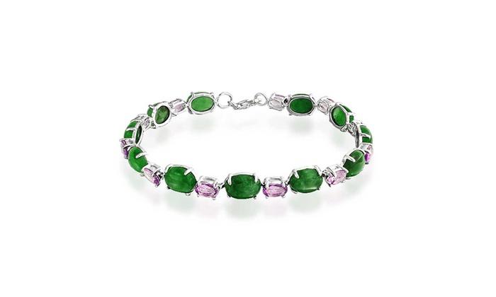 Bling Jewelry Oval Green Jade Amethyst Tennis Bracelet 925 Silver