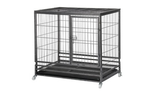 """Topeakmart 37"""" Heavy Duty Dog Crate Metal Wire Pet Cage Kennel Tray"""