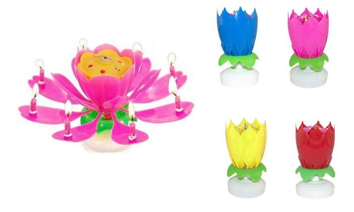 Cake Topper Musical Rotating Party Magic Birthday Candle Lotus Flower