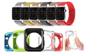 Waloo Milanese Band and 5 Gel Cases for Apple Watch (6-Pack)
