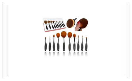 10 Pieces Soft Oval Makeup Brush Sets Foundation Brushes 9eb6f9c8-79dc-4ec9-9c9a-ec9a76b9cfba