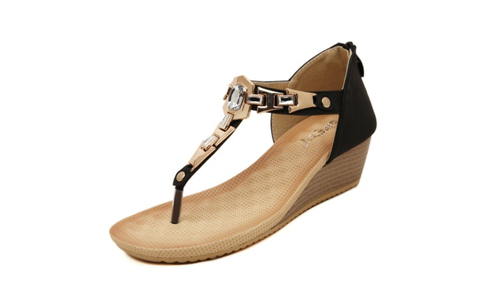 Women's Ankle Strap Thong Wedge Sandal