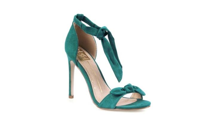 119d459b09b3 Teal Strappy Bowtie High Heels by FRH
