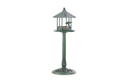 Weathered Copper Look Gazebo Standing Bird Feeder 39.8