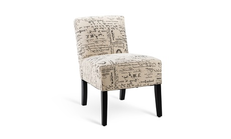 Armless Accent Chair Letter Print Fabric Chair w/Solid Wood Legs